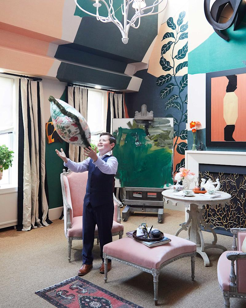 Graham Gilbert, 11, inside Young Huh's room at the Kips Bay Decorator Show House.
