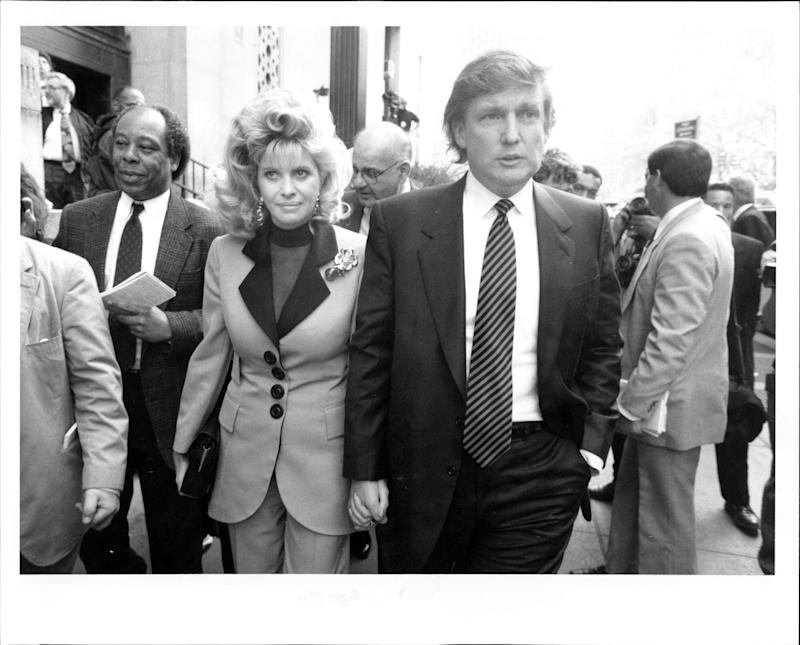 Donald Trump and Ivana Trump after their divorce settlement in April 1993.