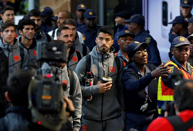 Barcelona's Luis Suarez arrives with teammates for the Nelson Mandela Centenary Challenge against South Africa's Mamelodi Sundowns at the FNB Stadium, in Johannesburg, South Africa, May 16, 2018. REUTERS/Siphiwe Sibeko