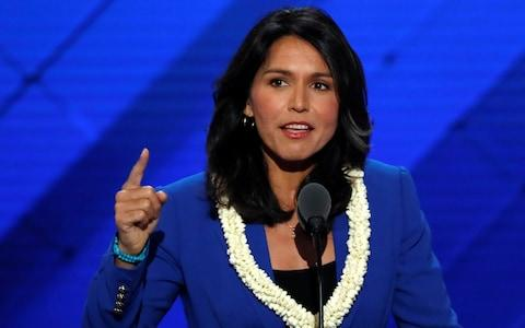 Representative Gabbard delivers a nomination speech for Sanders on the second day at the Democratic National Convention in Philadelphia - Credit: Reuters