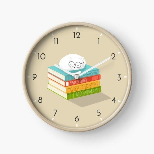 <p>Redbubble is a cool site that has so many custom creations you can add to your home (or your friend's). The <span> Cat Loves Books Clock by cartoonbeing</span> ($31) is a sweet addition for a kid's room or reading nook.</p>