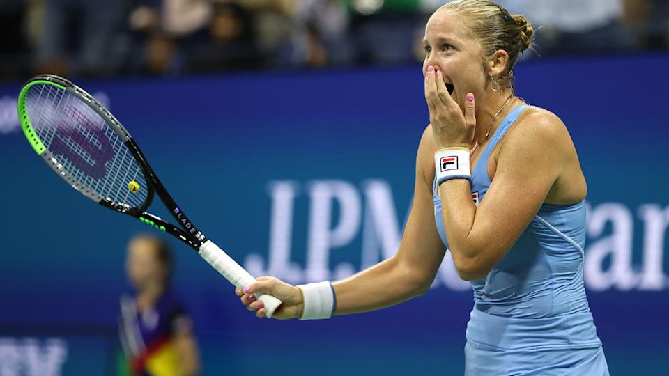 Shelby Rogers couldn't believe it after defeating world No.1 Ash Barty in a three-set thriller at the US Open. (Photo by Elsa/Getty Images)