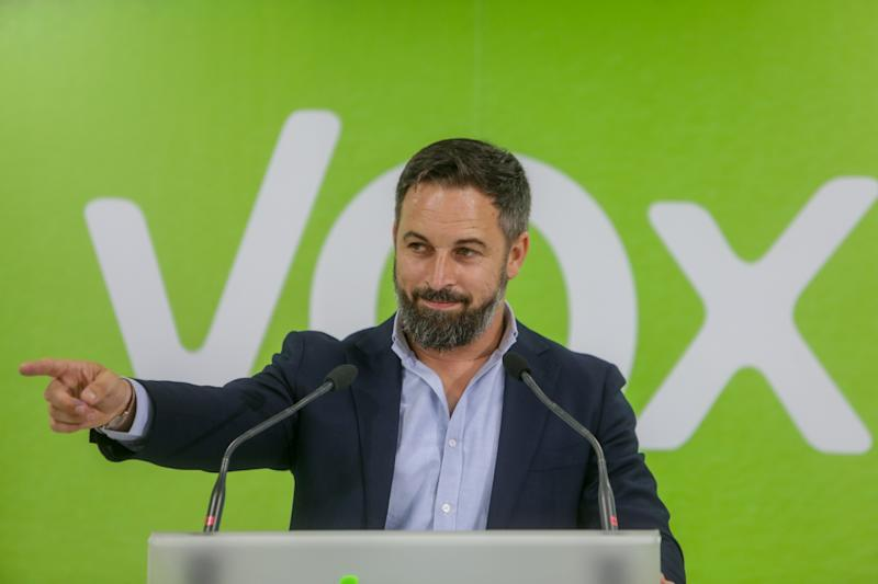 Santiago Abascal durante un acto de Vox en Madrid. (Foto: Ricardo Rubio / Europa Press / Getty Images).