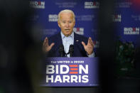 Democratic presidential candidate former Vice President Joe Biden speaks at a union training center in Hermantown, Minn., Friday, Sept. 18, 2020. (AP Photo/Carolyn Kaster)