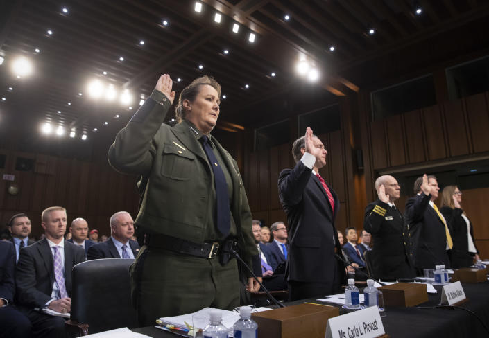 """<span class=""""s1"""">Carla Provost, then acting chief and now chief of Border Patrol, and four others are sworn in to testify at a Senate Judiciary Committee hearing on immigration enforcement and family reunification on July 31. (Photo: J. Scott Applewhite/AP)</span>"""