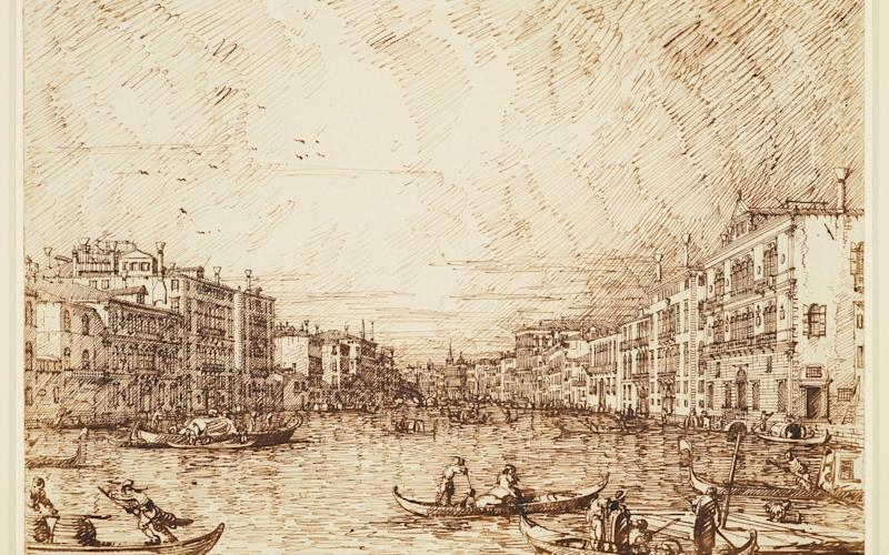 Drawing of The central sketch of the Grand Canal - Royal Collection Trust