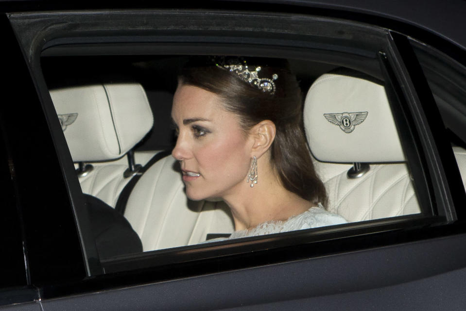 Kate wore the Lotus Flower Tiara with an ice blue Alexander McQueen for the Diplomatic Reception in December 2013. It was the first time we'd seen her in a tiara since her wedding. It once belonged to the Queen Mother and was originally a necklace, that was made into a headpiece by Garrard. The Queen Mother gave it to her daughter Princess Margaret in 1959, who wore it on numerous occasions throughout her life (Splash)