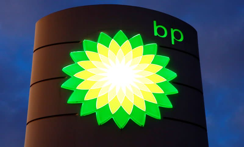 FILE PHOTO: A BP sign at a petrol station in Kloten, Switzerland