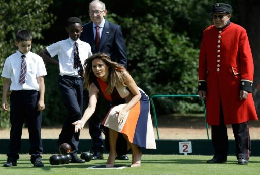 The First Lady also played a game of bowls, engaging with gusto despite being in high heels