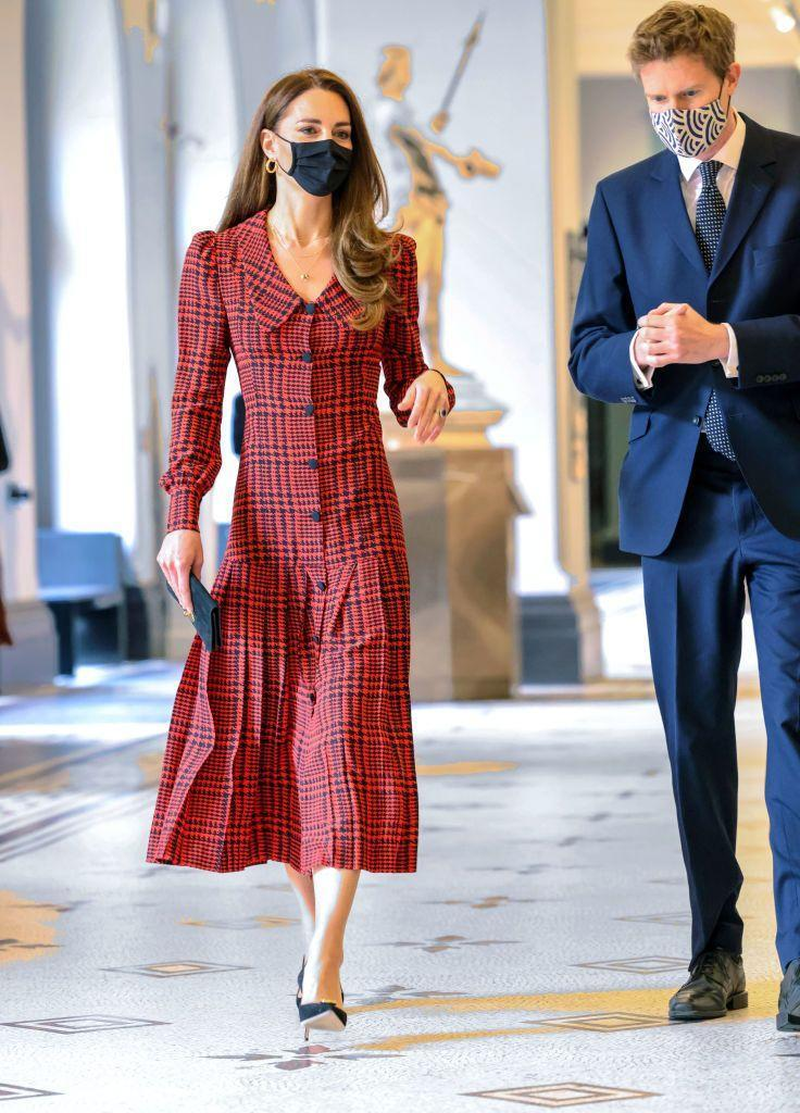 """<p>Kate sported an <a href=""""https://go.redirectingat.com?id=74968X1596630&url=https%3A%2F%2Fwww.net-a-porter.com%2Fen-us%2Fshop%2Fdesigner%2Falessandra-rich&sref=https%3A%2F%2Fwww.townandcountrymag.com%2Fstyle%2Ffashion-trends%2Fnews%2Fg1633%2Fkate-middleton-fashion%2F"""" rel=""""nofollow noopener"""" target=""""_blank"""" data-ylk=""""slk:Alessandra Rich"""" class=""""link rapid-noclick-resp"""">Alessandra Rich</a> dress in a stylish check with an <a href=""""https://www.townandcountrymag.com/style/fashion-trends/g35843582/big-collar-shirts-fashion-trend/"""" rel=""""nofollow noopener"""" target=""""_blank"""" data-ylk=""""slk:oversized collar"""" class=""""link rapid-noclick-resp"""">oversized collar</a> for a visit to the V&A Museum in London.</p>"""