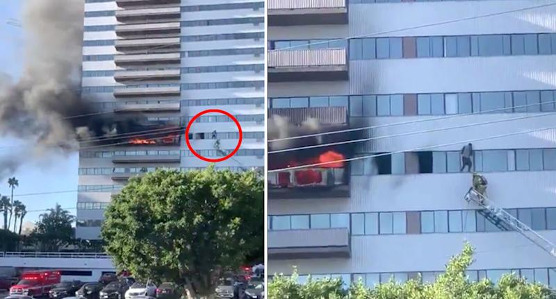 The man can be seen clinging to the sixth-floor ledge.Source: Twitter/ SiderisAndrew