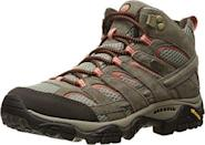 """<p><strong>Merrell</strong></p><p>amazon.com</p><p><strong>$134.95</strong></p><p><a href=""""https://www.amazon.com/dp/B005BGX64K?tag=syn-yahoo-20&ascsubtag=%5Bartid%7C2140.g.33863839%5Bsrc%7Cyahoo-us"""" rel=""""nofollow noopener"""" target=""""_blank"""" data-ylk=""""slk:Shop Now"""" class=""""link rapid-noclick-resp"""">Shop Now</a></p><p>The Moab is Merrell's most iconic hiking boot. These come in tons of colors, with half sizes and wide fits, too.</p>"""