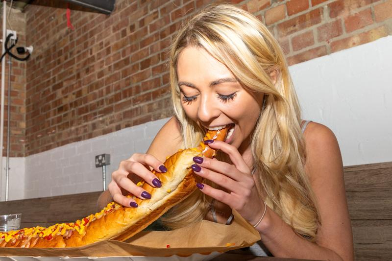 Kate Ovens ate Britain's largest hotdog in 25 minutes. [Photo: SWNS]