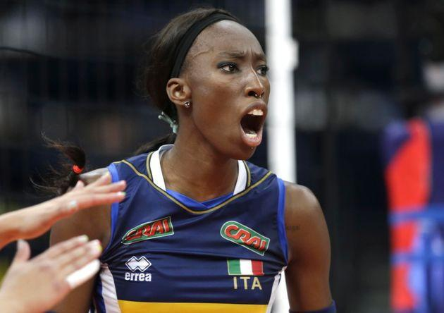 epa09447925 Italy's Paola Ogechi Egonu reacts during the 2021 Women's European Volleyball Championship final between Serbia and Italy in Belgrade, Serbia, 04 September 2021.  EPA/ANDREJ CUKIC (Photo: ANDREJ CUKICEPA)