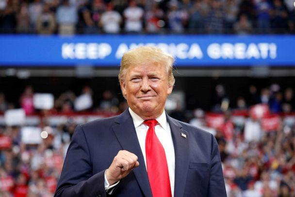 PHOTO: President Donald Trump delivers remarks at a Keep America Great Rally at the Rupp Arena in Lexington, Kentucky, Nov. 4, 2019. (Yuri Gripas/Reuters)