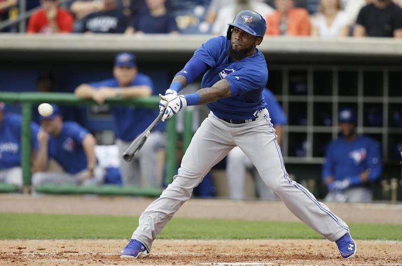 Toronto Blue Jays shortstop Jose Reyes grounds out during the second inning of an exhibition baseball game against the Philadelphia Phillies Wednesday, Feb. 26, 2014, in Clearwater, Fla. (AP Photo/Charlie Neibergall)
