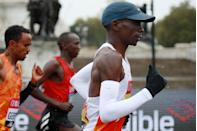 "<p>After the race, Kipchoge said he experienced <a href=""https://www.runnersworld.com/news/a34261449/eliud-kipchoge-london-marathon-2020-results/"" rel=""nofollow noopener"" target=""_blank"" data-ylk=""slk:a blocked right ear"" class=""link rapid-noclick-resp"">a blocked right ear</a>, which led to his subpar performance</p>"