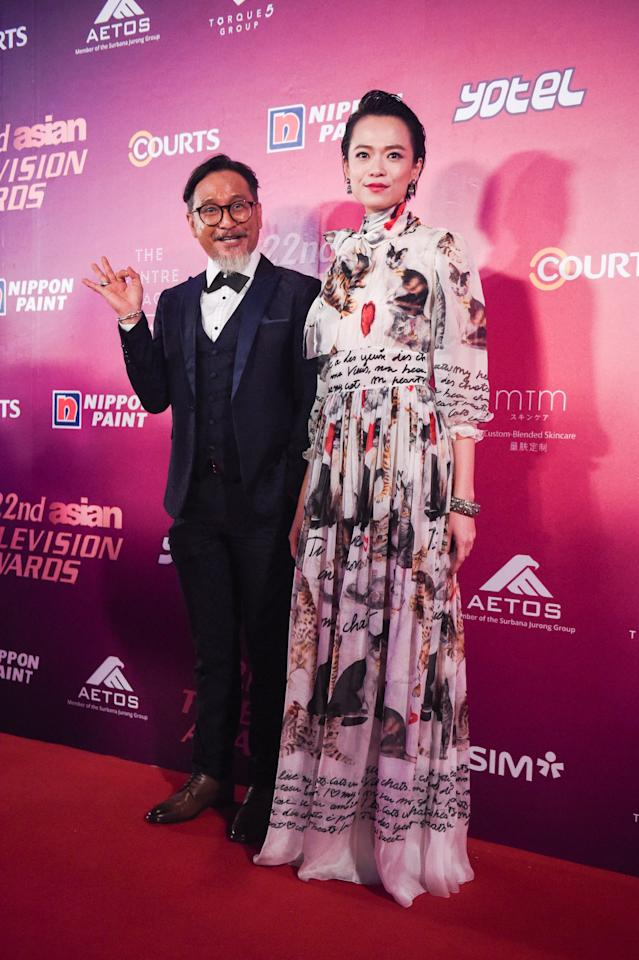 <p>Actor Hasnul Rahmat and actress Felicia Chin pose for photos on the red carpet at the 22nd Asian Television Awards. (Photo: Joseph Nair for Yahoo Lifestyle Singapore) </p>