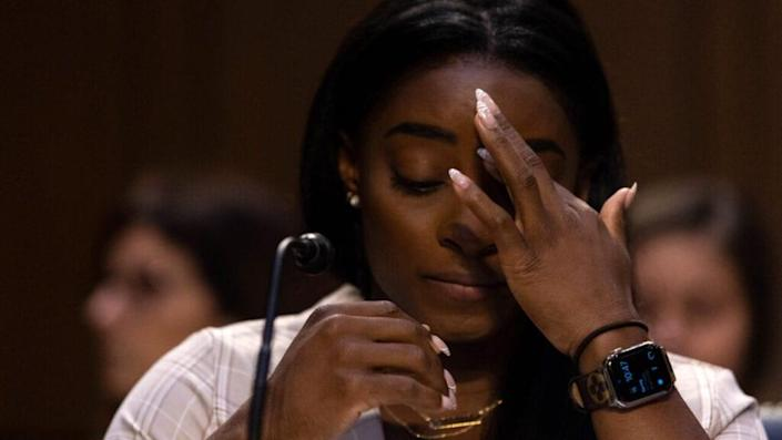 U.S. Olympic gymnast Simone Biles testifies during a Senate Judiciary hearing about the Inspector General's report on the FBI's handling of the Larry Nassar investigation on Capitol Hill, on September 15, 2021 in Washington, DC. (Photo by Graeme Jennings-Pool/Getty Images)