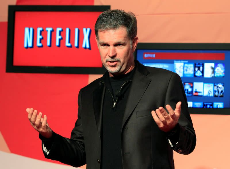FILE PHOTO: Netflix CEO Hastings speaks during the launch of streaming internet subscription services for movies and television shows in Toronto