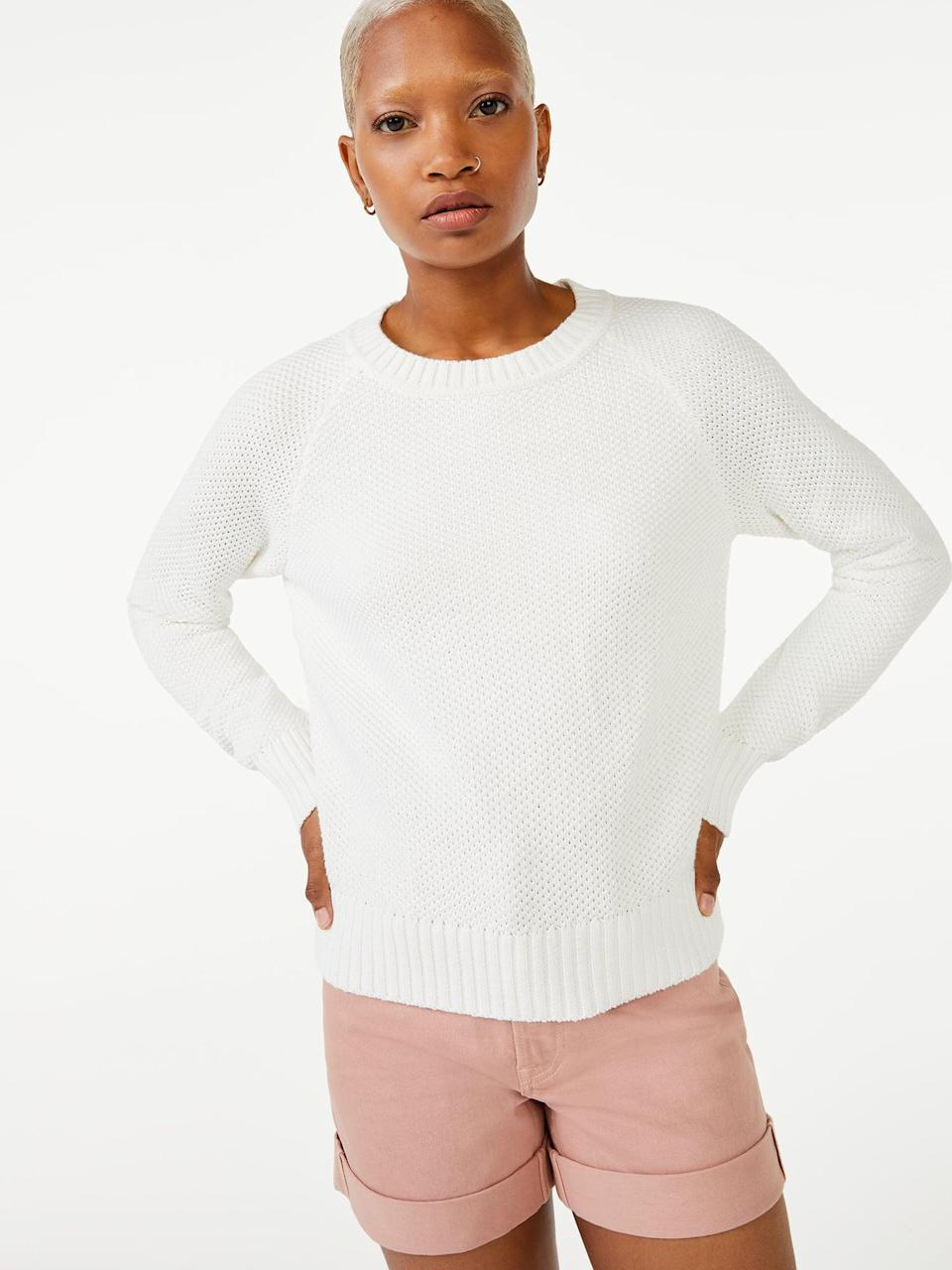 """<p>Who says you can't wear white after Labor Day? The <span>Free Assembly Women's Raglan Novelty Stitch Sweater</span> ($26) makes a strong case for ditching the outdated fashion """"rule.""""</p>"""