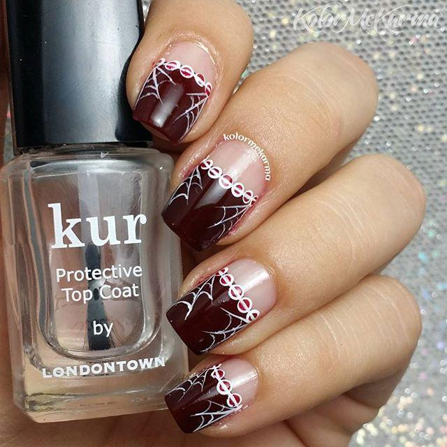 "<p>Combining eerie hues and creepy cobwebs, this nail art takes the typical French manicure up a notch or two. </p><p><a href=""https://www.instagram.com/p/9l0YiaA82-/?tagged=halloweennails&hidecaption=true"" rel=""nofollow noopener"" target=""_blank"" data-ylk=""slk:See the original post on Instagram"" class=""link rapid-noclick-resp"">See the original post on Instagram</a></p>"
