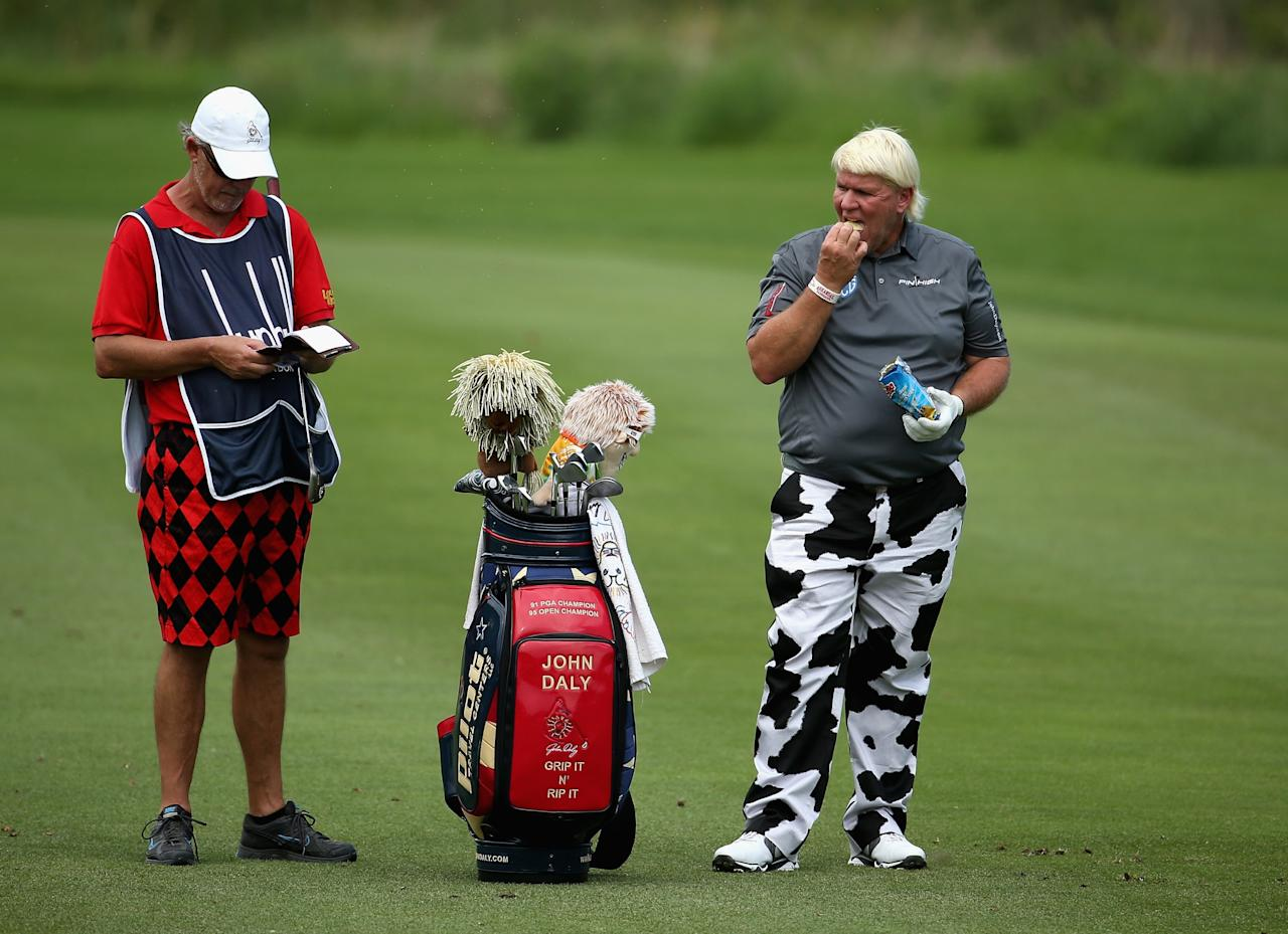 MALELANE, SOUTH AFRICA - NOVEMBER 26: in John Daly of the USA action during the pro-am ahead of the Alfred Dunhill Championship at Leopard Creek Country Club on November 26, 2013 in Malelane, South Africa. (Photo by Warren Little/Getty Images)
