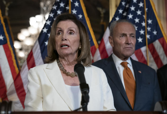Speaker of the House Nancy Pelosi, D-Calif., joined at right by Senate Minority Leader Chuck Schumer, D-N.Y., calls for a Senate vote on the House-passed Bipartisan Background Checks Act as Congress returns for the fall session with pressure mounting on Senate Majority Leader Mitch McConnell to address gun violence, at the Capitol in Washington, Sept. 9, 2019. (Photo: J. Scott Applewhite/AP)