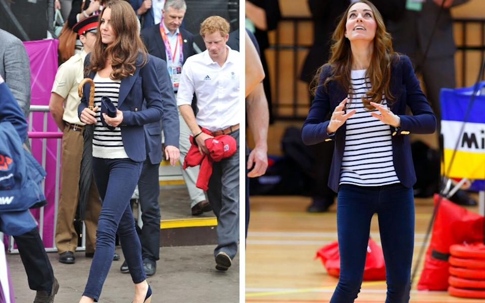 Kate wearing her favourite blazer with striped tops