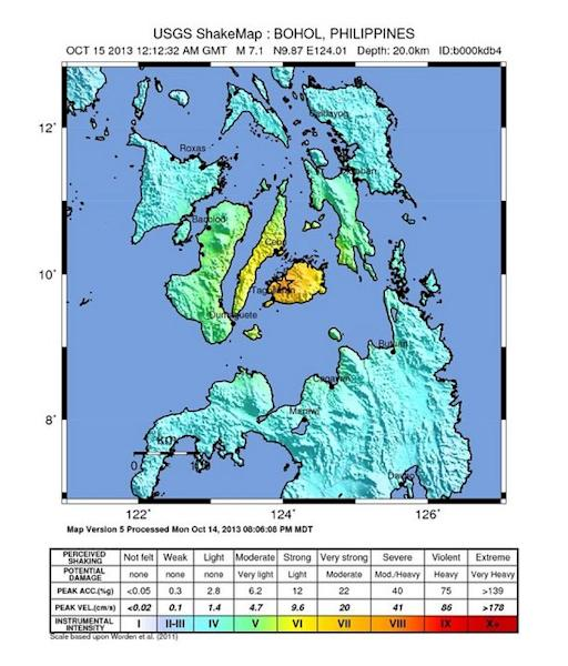 Strong shaking from a magnitude-7.1 earthquake on Oct. 15 killed more than 90 people and damaged structures in the central Philippines.