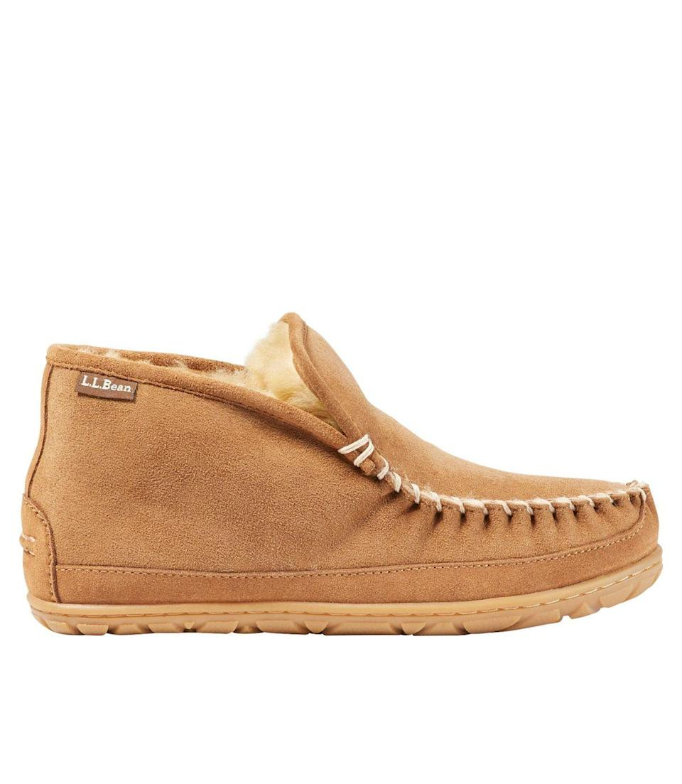 """<h2>L.L. Bean Wicked Good Boot Moc Slippers</h2><br>This sublime shearling bootie boasts oversize stitching and a sole that's ready to hit the grass when you need to venture out to grab the mail.<br><br><strong>LL Bean</strong> Wicked Good Boot Moc Slippers, $, available at <a href=""""https://go.skimresources.com/?id=30283X879131&url=https%3A%2F%2Fwww.llbean.com%2Fllb%2Fshop%2F124575%3Fpage%3Dwomens-wicked-good-slipper-boot-moc-womens%26bc%3D474-511913-503422"""" rel=""""nofollow noopener"""" target=""""_blank"""" data-ylk=""""slk:L.L. Bean"""" class=""""link rapid-noclick-resp"""">L.L. Bean</a>"""