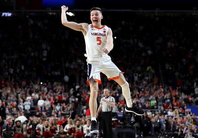Kyle Guy #5 of the Virginia Cavaliers celebrate his teams 85-77 win over the Texas Tech Red Raiders to win the the 2019 NCAA men's Final Four National Championship game at U.S. Bank Stadium on April 08, 2019 in Minneapolis, Minnesota. (Photo by Streeter Lecka/Getty Images)