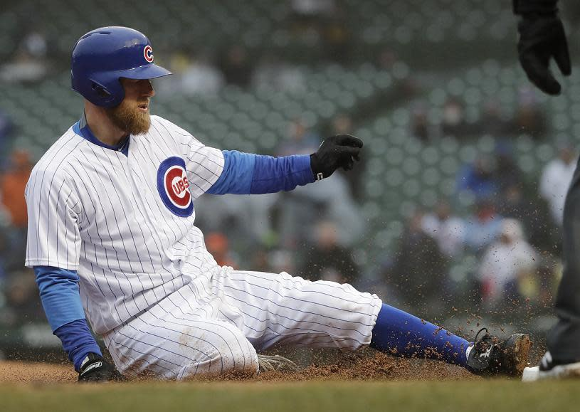 Ben Zobrist has been wearing these custom cleats at home games for two years. Now MLB says they have to go. (AP)