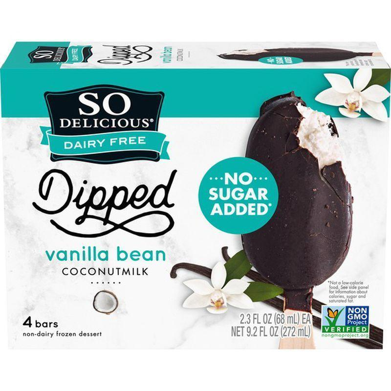 """<p><strong>So Delicious</strong></p><p>instacart.com</p><p><a href=""""https://go.redirectingat.com?id=74968X1596630&url=https%3A%2F%2Fwww.instacart.com%2Flanding%3Fproduct_id%3D56273&sref=https%3A%2F%2Fwww.menshealth.com%2Fnutrition%2Fg33390788%2Fbest-keto-ice-cream%2F"""" rel=""""nofollow noopener"""" target=""""_blank"""" data-ylk=""""slk:BUY NOW"""" class=""""link rapid-noclick-resp"""">BUY NOW</a></p><p>""""Unlike most other keto-friendly ice creams, these chocolate coated ice cream bars are made from a coconut milk base, which makes them dairy free,"""" she says. The bars have 110 calories, 7 g net carbs, and less than 1g sugar a serving.</p>"""