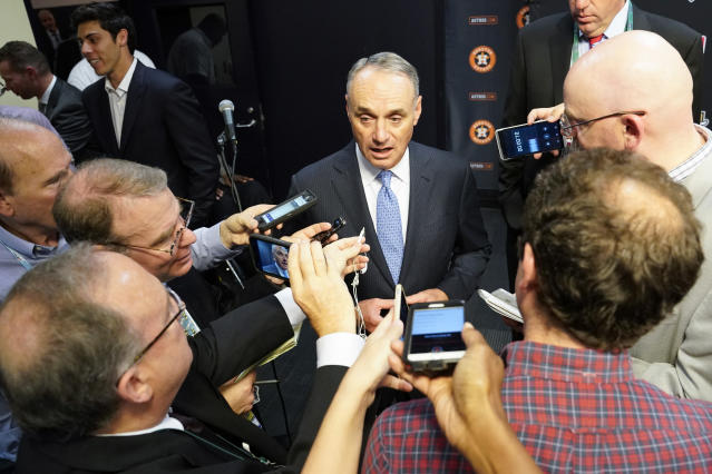 Commissioner Rob Manfred addressed the Astros controversy before World Series Game 2. (AP Photo/David J. Phillip)