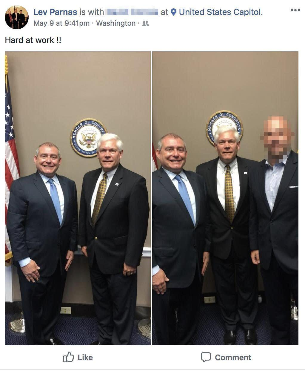 """Lev Parnas meets with then-Rep. Pete Sessions (R-Texas) in May 2018. (Photo: <a href=""""https://www.occrp.org/en/investigations/meet-the-florida-duo-helping-giuliani-dig-dirt-for-trump-in-ukraine"""" rel=""""nofollow noopener"""" target=""""_blank"""" data-ylk=""""slk:Organized Crime and Corruption Reporting Project"""" class=""""link rapid-noclick-resp"""">Organized Crime and Corruption Reporting Project</a>)"""