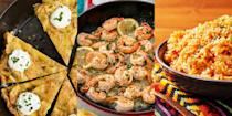 """<p>Fancy enjoying the taste of Spain without ever having to leave the comfort of your own home? It's tapas time! Make everything from <a href=""""https://www.delish.com/uk/cooking/recipes/a29664285/easy-lemon-garlic-shrimp-recipe/"""" rel=""""nofollow noopener"""" target=""""_blank"""" data-ylk=""""slk:Lemon Garlic Prawns"""" class=""""link rapid-noclick-resp"""">Lemon Garlic Prawns</a> to <a href=""""https://www.delish.com/uk/cooking/recipes/a30386415/spanish-rice-recipe/"""" rel=""""nofollow noopener"""" target=""""_blank"""" data-ylk=""""slk:Spanish Rice"""" class=""""link rapid-noclick-resp"""">Spanish Rice</a>, <a href=""""https://www.delish.com/uk/cooking/recipes/a35818876/fried-calamari-recipe/"""" rel=""""nofollow noopener"""" target=""""_blank"""" data-ylk=""""slk:Calamari"""" class=""""link rapid-noclick-resp"""">Calamari</a> to <a href=""""https://www.delish.com/uk/cooking/recipes/a31128047/best-spanish-tortilla-recipe/"""" rel=""""nofollow noopener"""" target=""""_blank"""" data-ylk=""""slk:Classic Spanish Tortillas"""" class=""""link rapid-noclick-resp"""">Classic Spanish Tortillas</a>. We're talking bite-sized and easy to make appetisers that taste delicious, especially when grouped together for dinner. So, if you're looking for a range of tapas-inspired recipes, we've got you covered! </p>"""