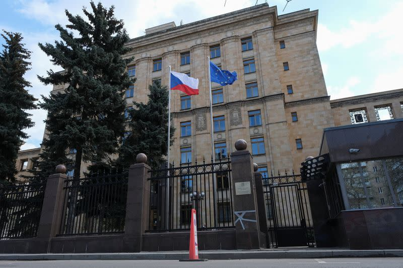 A view shows the embassy of the Czech Republic in Moscow