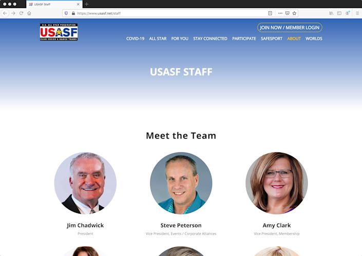 The United States All Star Federation's website lists Amy Clark as the Vice President of Membership as of Sept. 15, 2020, shown by this screen grab.