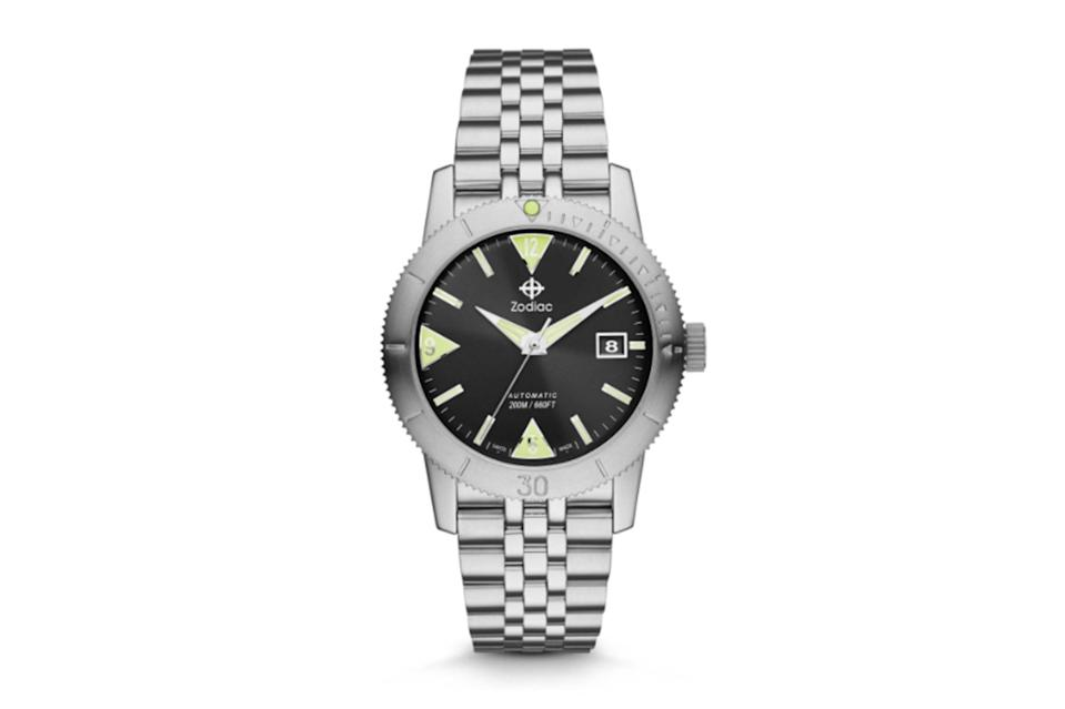 """$1295, Zodiac. <a href=""""https://www.zodiacwatches.com/collections/super-sea-wolf/products/super-sea-wolf-53-skin-zo9201"""" rel=""""nofollow noopener"""" target=""""_blank"""" data-ylk=""""slk:Get it now!"""" class=""""link rapid-noclick-resp"""">Get it now!</a>"""