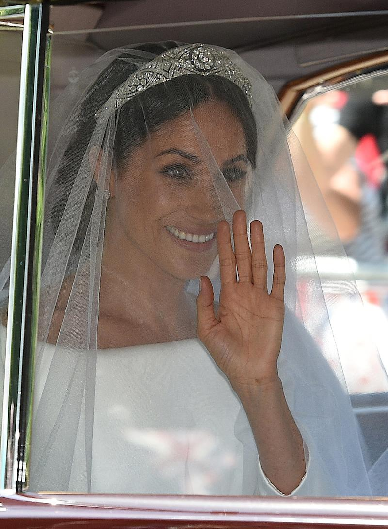 Our first glimpse at Meghan Markle in her tiara at the royal wedding.