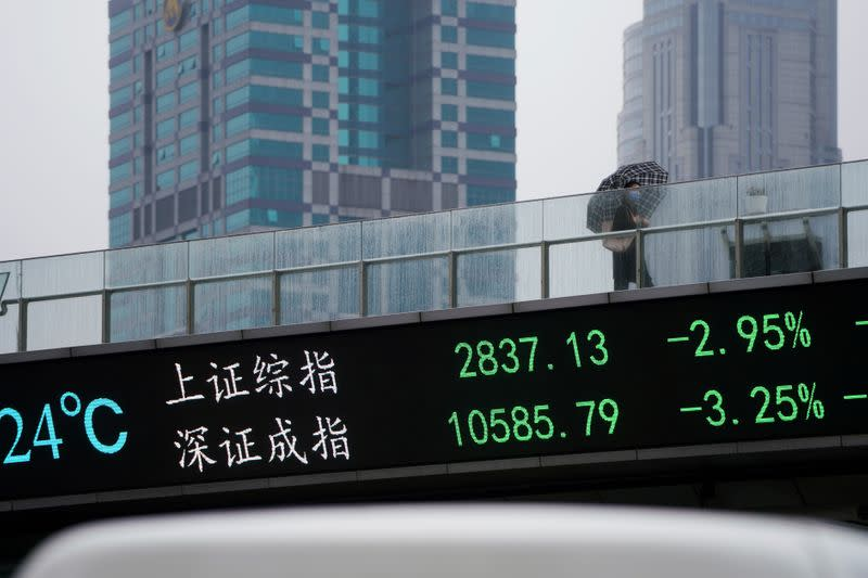 FILE PHOTO: Woman wearing a face mask walks on a pedestrian overpass with an electronic board showing the Shanghai and Shenzhen stock indexes in Shanghai