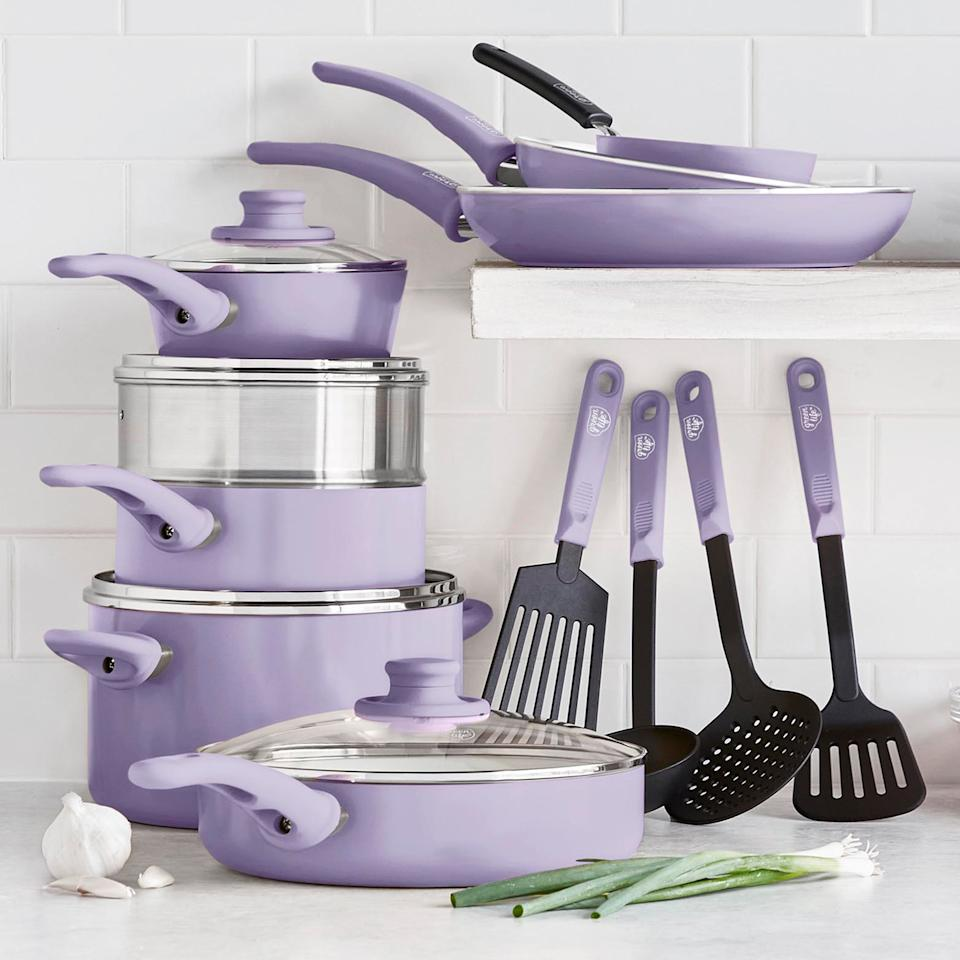Greenlife's 6-piece soft-grip cookware set in lavender, $99.