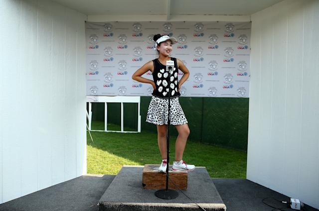 """<div class=""""caption""""> Li speaks to the media after the second round of the 2014 U.S. Women's Open at Pinehurst. </div> <cite class=""""credit"""">Streeter Lecka/Getty Images</cite>"""