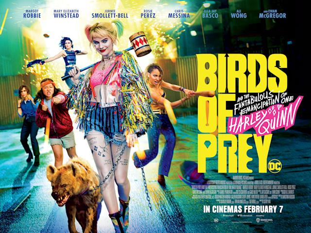 The UK quad poster for Birds of Prey featuring the film's full title and Margot Robbie as Harley Quinn. (Warner Bros.)
