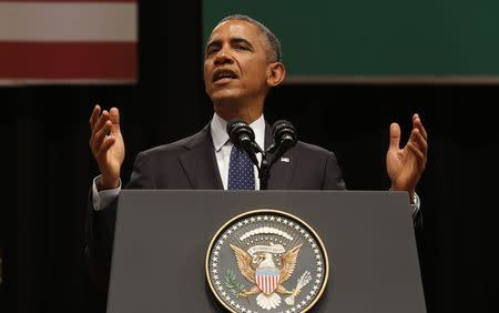 U.S. President Obama delivers a speech at Siri Fort Auditorium in New Delhi