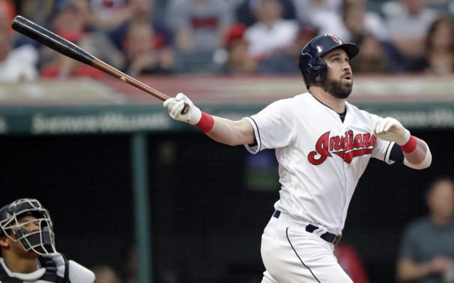 Cleveland Indians' Jason Kipnis watches his ball after hitting a three-run home run off Baltimore Orioles starting pitcher Gabriel Ynoa in the fourth inning of a baseball game, Thursday, May 16, 2019, in Cleveland. Jordan Luplow and Roberto Perez scored on the play. (AP Photo/Tony Dejak)