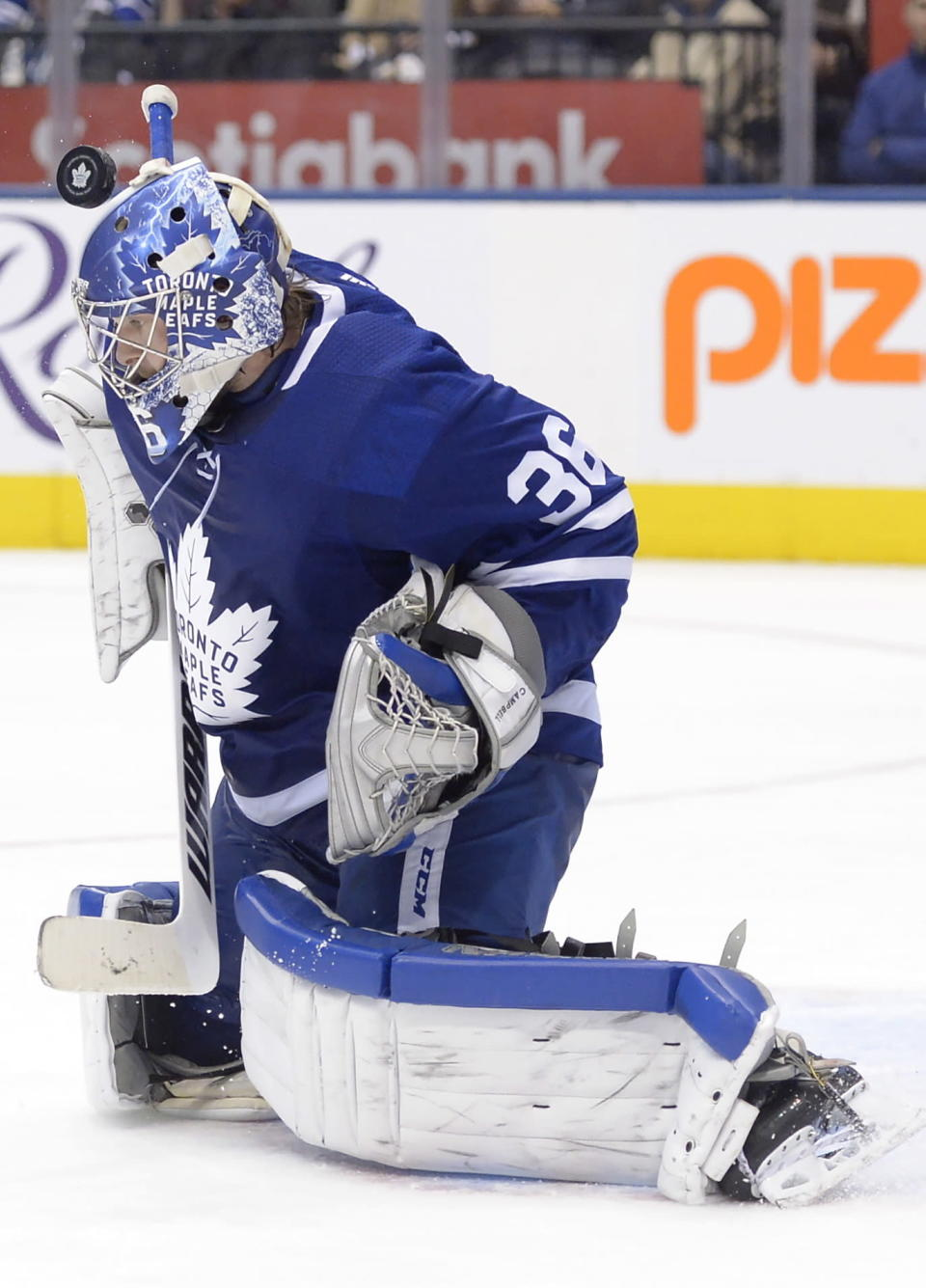 Toronto Maple Leafs goaltender Jack Campbell (36) makes a save agaonst the Arizona Coyotes during the third period of an NHL hockey game, Tuesday, Feb. 11, 2020 in Toronto. (Nathan Denette/The Canadian Press via AP)