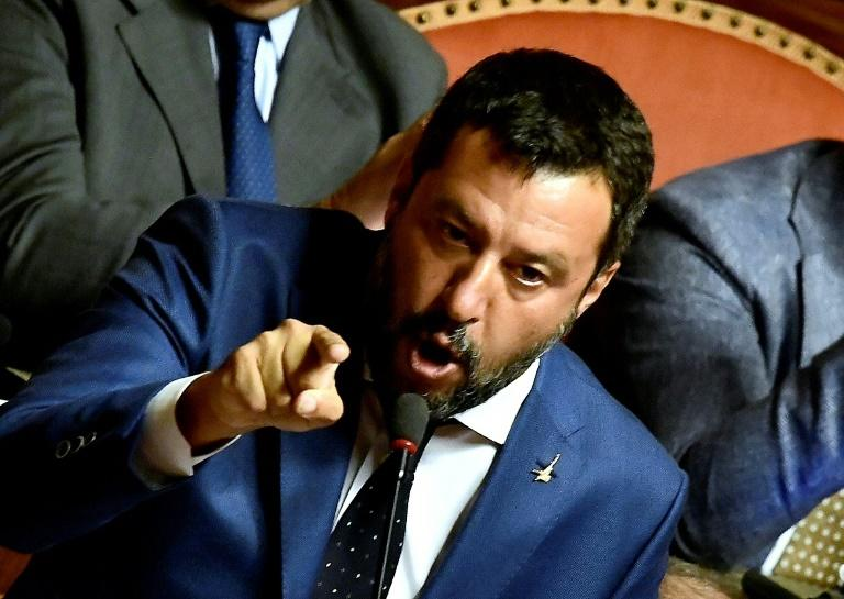 Far-right League leader Matteo Salvini has called for snap elections, but they look less likely after his no-confidence bid was defeated (AFP Photo/Filippo MONTEFORTE)