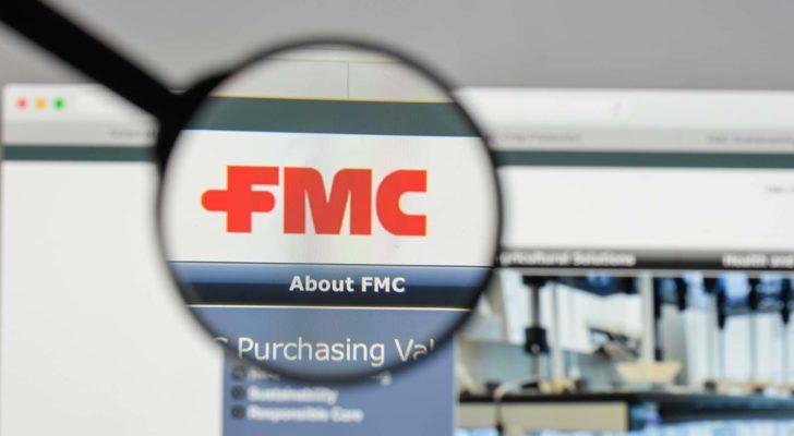 A magnifying glass zooms in on the FMC Corporation (FMC) website.